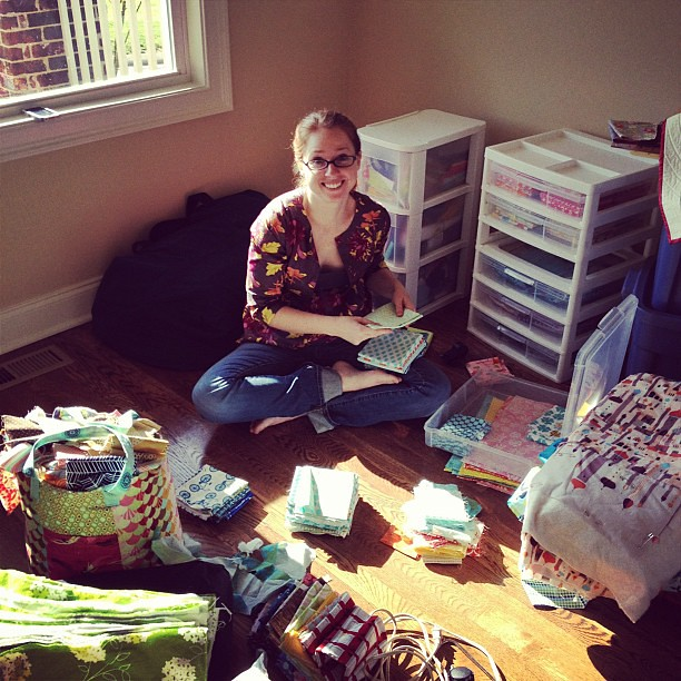 @a_2_w is refolding and organizing my fat quarters