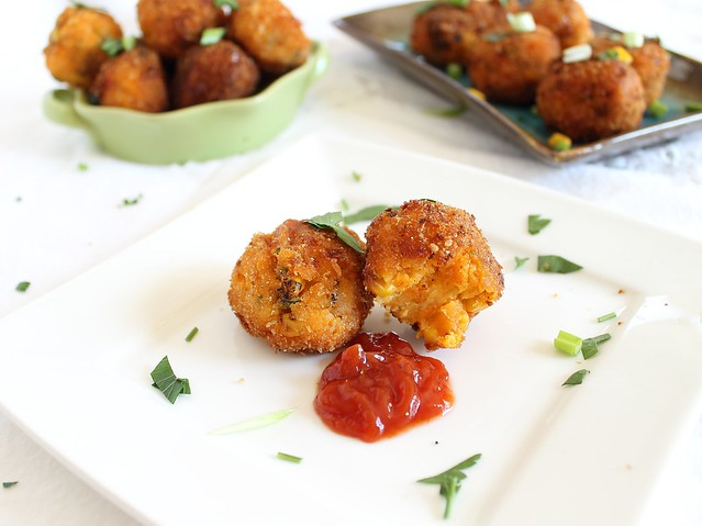 Sweet potato corn cheddar fritters