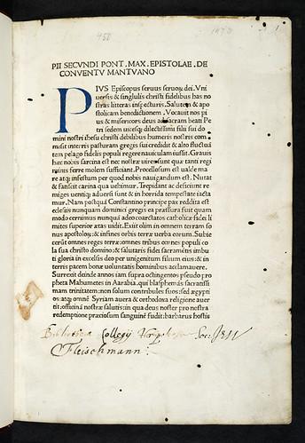 Ownership inscriptions in Pius II, Pont. Max.: Epistolae in Pontificatu editae