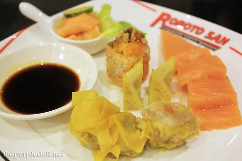 Salmon sashimi dumpling siomai maki