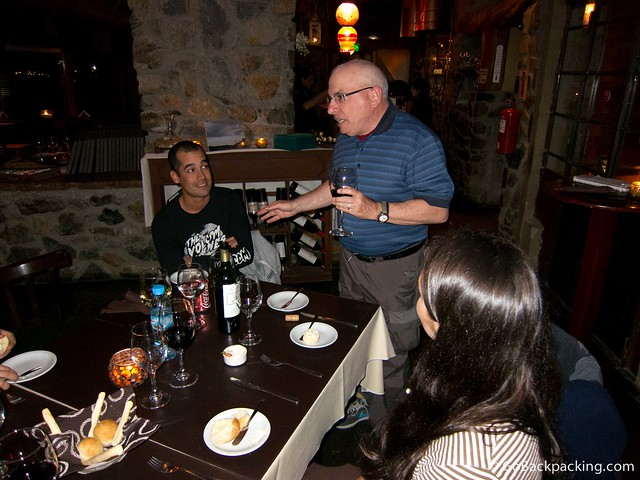 Dennis makes a toast to Christian at our last dinner together