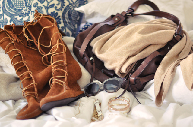 Minnetonka Moccasin boots- accessories-kooba bag