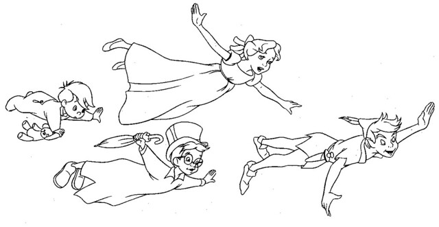 peter pan and wendy colouring pagesPeter Pan And Wendy Kiss Coloring Pages