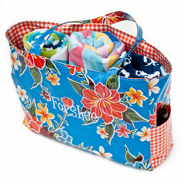 Beach Pool Oilcloth Tote Large-2