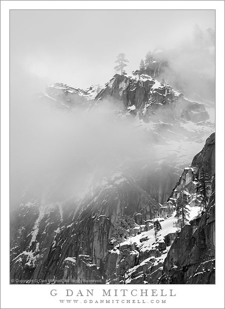 Cloud Shrouded Cliffs and Snow, Yosemite Valley