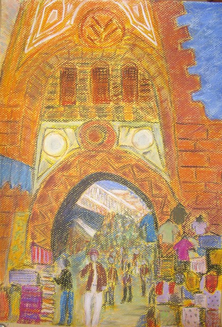 Cairo market entrance - 4 stages of painting