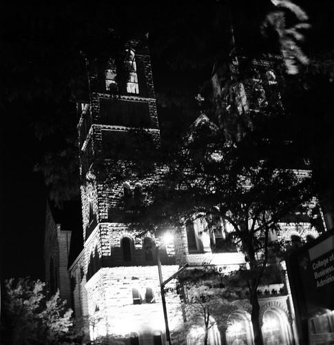 St. Bernard's and Tree at Night