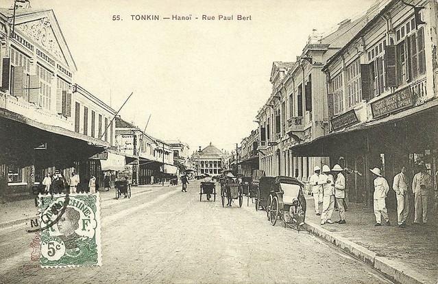Hanoi - Rue Paul Bert (stamp 1914)