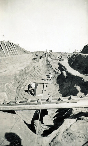 Excavation of an Anglo-Saxon ship burial. Sutton Hoo, Suffolk. 1939