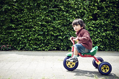 segway(0.0), training wheels(0.0), baby carriage(0.0), lawn(0.0), bicycle(0.0), child(1.0), vehicle(1.0), green(1.0), land vehicle(1.0), toddler(1.0), tricycle(1.0),