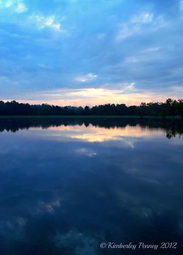 blue sky lake water clouds sunrise