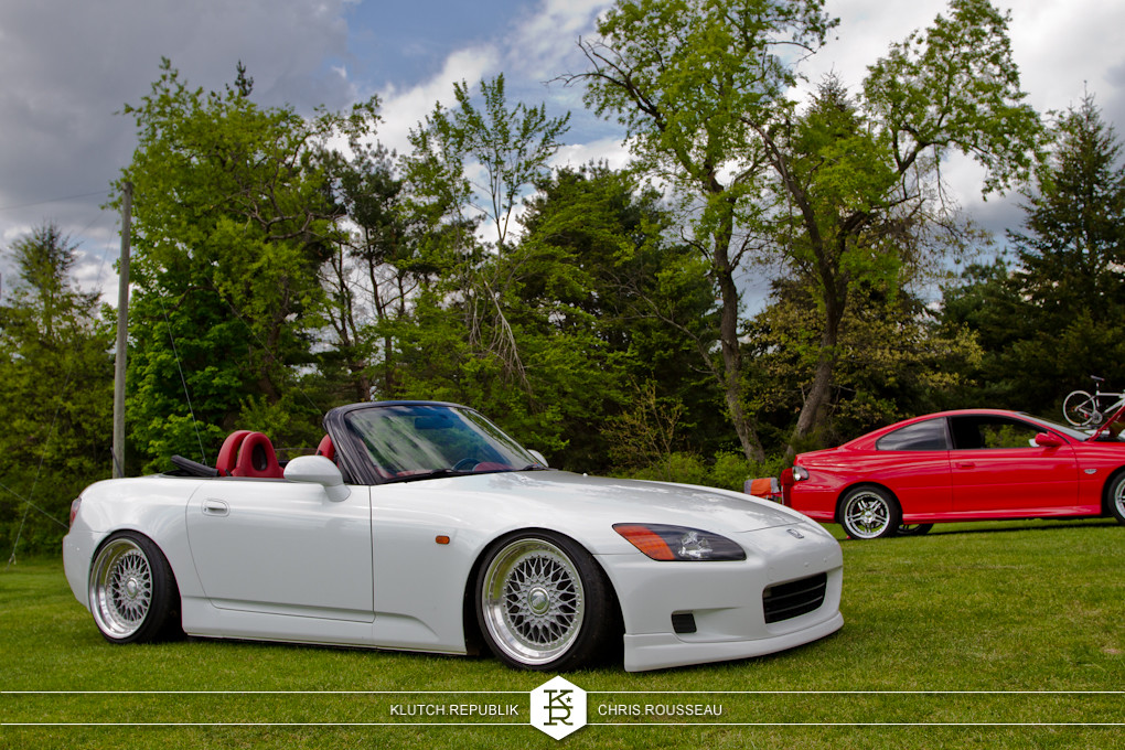 white low fitted honda s2000 on bbs rs wheels at staggered 2012