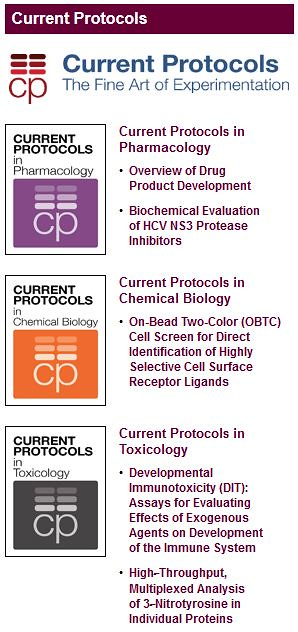 Current Protocols in Chemical Biology, Pharmacology & Toxicology