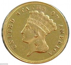 1870s three dollar gold