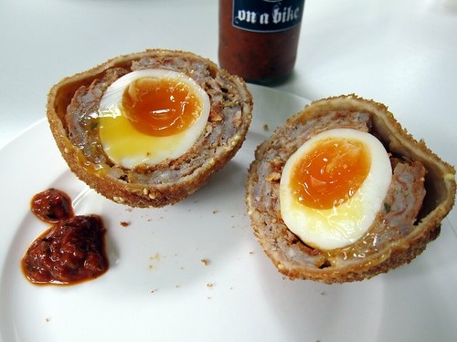 Paprika Scotch Egg with The Rib Man's Christ on a Bike Hot Sauce