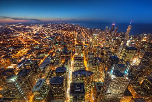 chicago tower night dusk skyskrapers gotham hdr willis skydeck