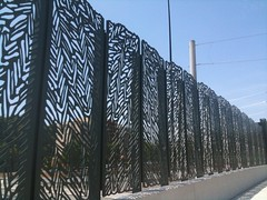 Patterned Barrier on Highway Overpass