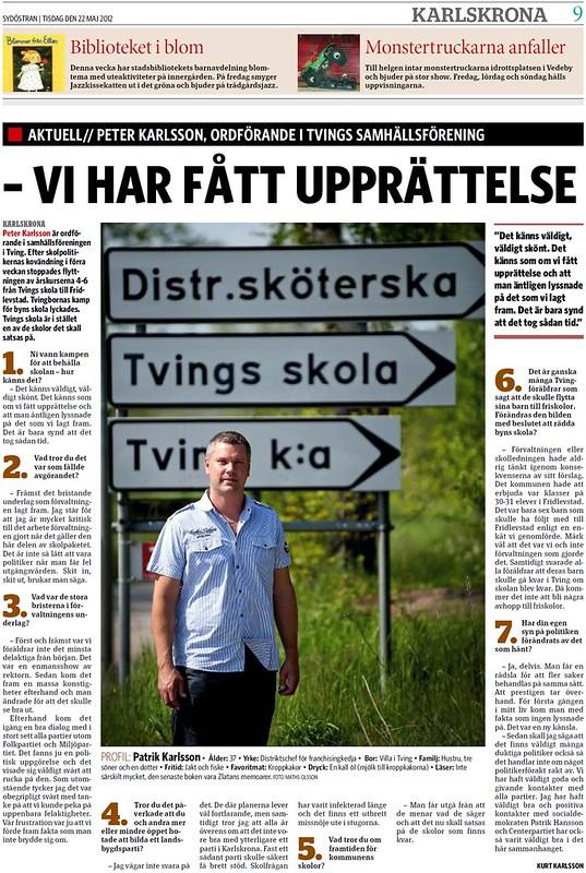 2012-05-22 Sydöstran, Artikel