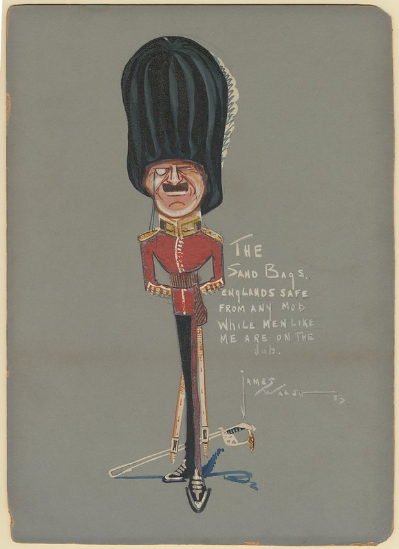 caricature watercolour sketch of absurdly exaggerated monocled soldier in red tunic and tall beefeater hat