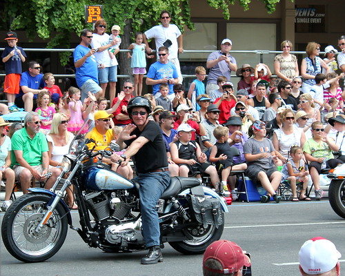 20120526. Our governor rode in on a motorcycle with a crew of Harley riders. Classy. Indy 500 parade.