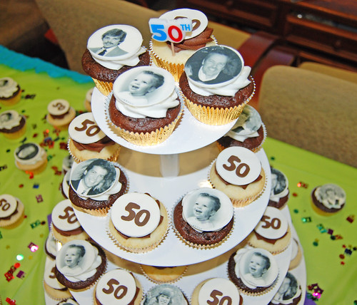50th birthday cupcake tower with photo cupcake toppers