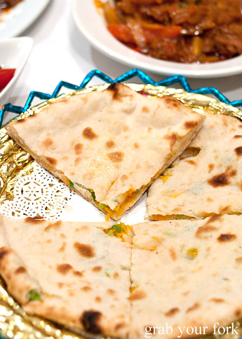 Afghani pumpkin naan at Bamiyan Restaurant, Five Dock