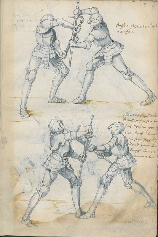 16th century sword fight manuscript drawing - Combat Knights 3