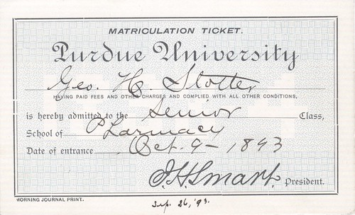 George Stotler Matriculation ticket 1893