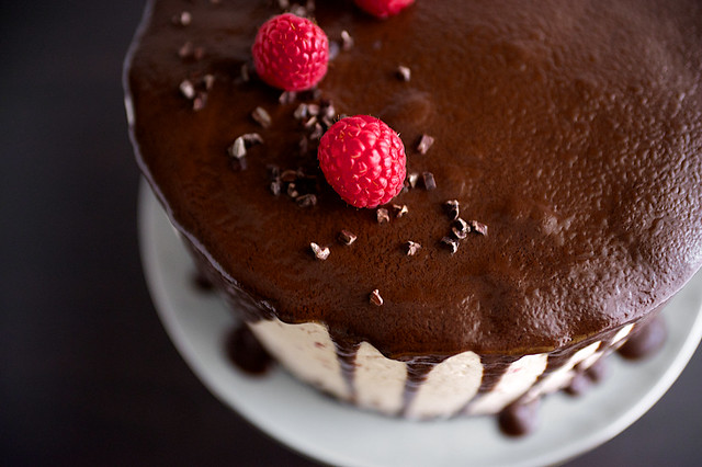 Dark Chocolate Raspberry Buttercream Cake with Ganache Drizzle