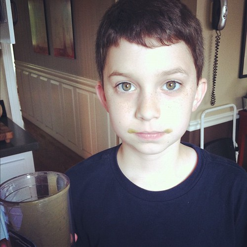 Kids with green mustaches. Makes me a happy mom. Matches his eyes too. ;) #vitamix