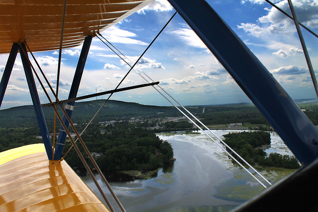 Stearman Biplane over Lake Wausau