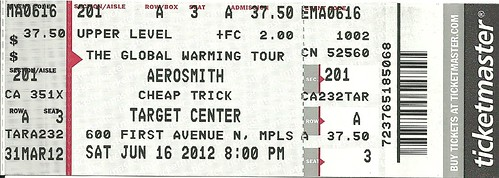 06/16/12 Aerosmith/Cheap Trick @ Target Center, Minneapolis, MN (Ticket)