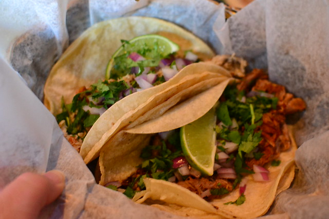 Pulled Chicken and Carnitas Tacos