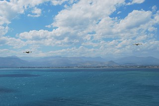 2 Canadair CL-415 flying over the harbor of Nafplion