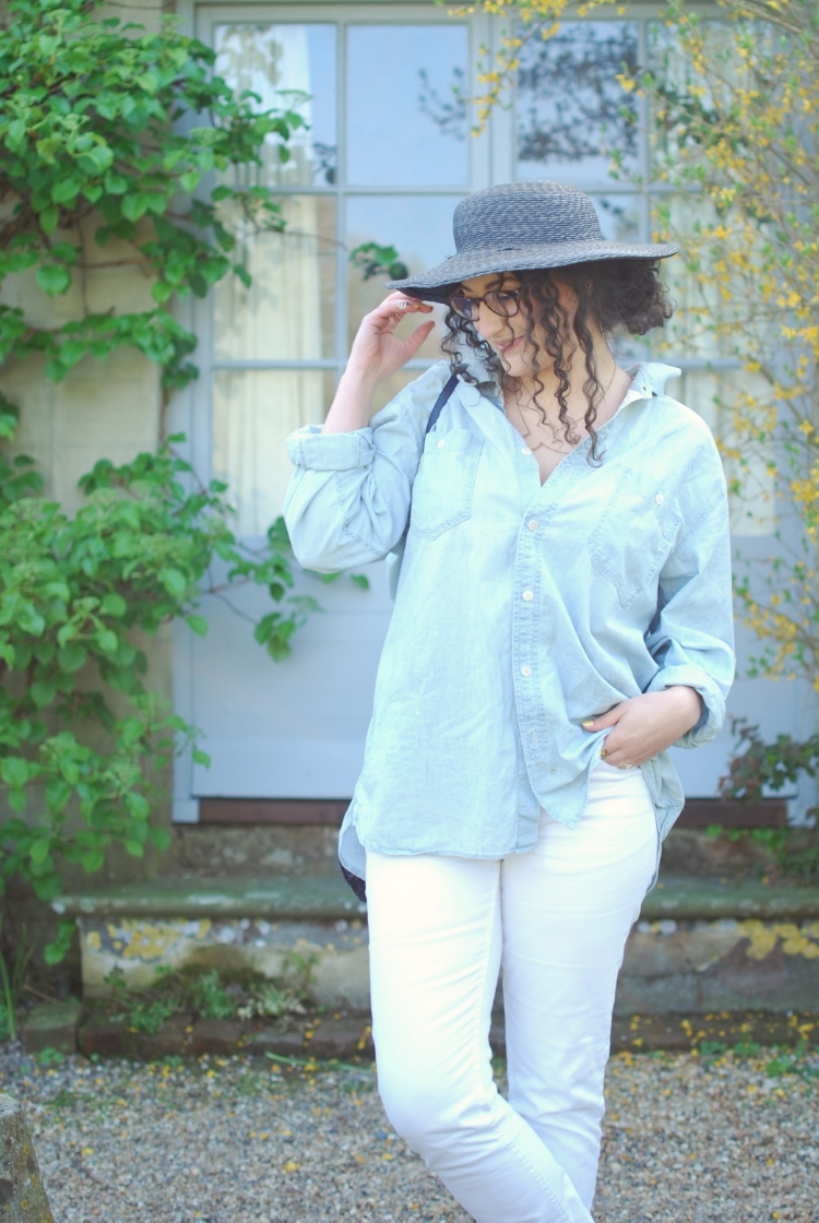 chambray and curls white jeans and oversized denim shirt
