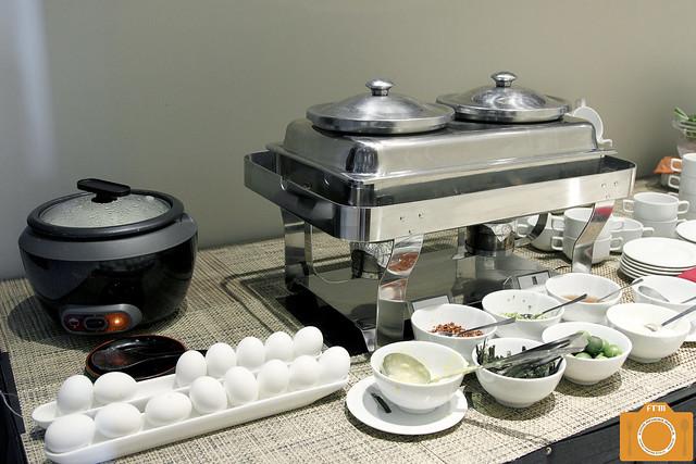 B Hotel Breakfast Omelette and Arroz Caldo