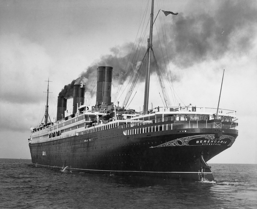 The passenger liner 'Berengaria' heading out to sea