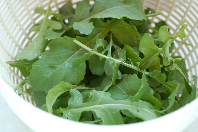 Fresh arugula from the garden by Eve Fox, Garden of Eating blog, copyright 2012