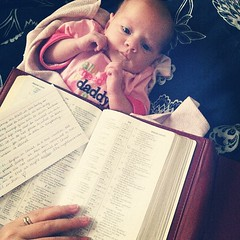 #whatimdoingrightnow Nursed, diaper changed, and content while I read my bible. What are YOU doing?