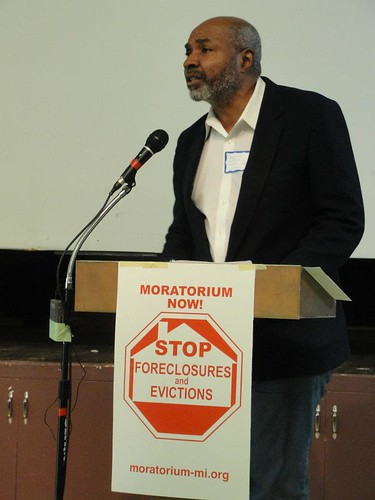 Abayomi Azikiwe, editor of the Pan-African News Wire, addressing the National Conference for a Moratorium on Foreclosures in Detroit March 31, 2012. Azikiwe outlined the economic crisis that has evolved over the last four decades. (Photo: Bryan Pfeifer) by Pan-African News Wire File Photos
