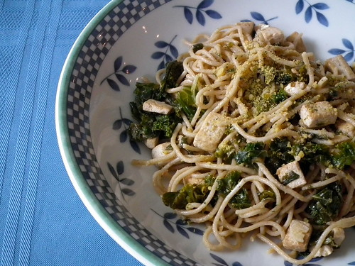 Whole Wheat Spaghetti with Tofu and Greens
