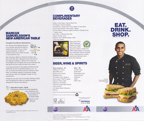 American Airlines Spring Menu: outside fold