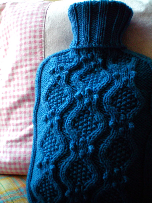 Free Knitting Pattern For Small Hot Water Bottle Cover : beautiful hot water bottle cozy   free pattern! KnitHacker