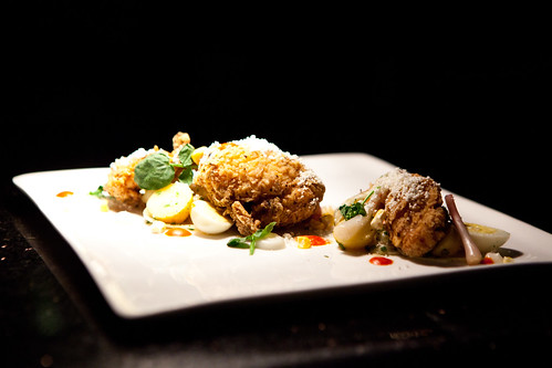 Gorgeous plated dish of fried chicken