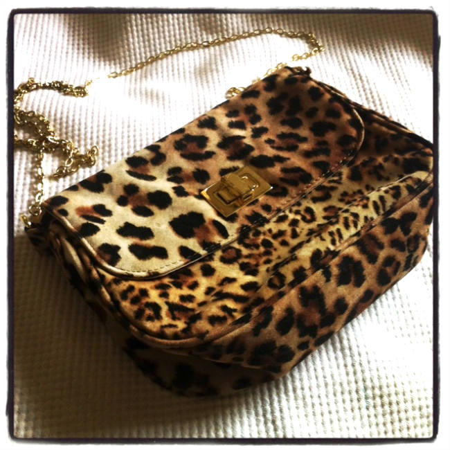 vintage leopard print bag found on eBay