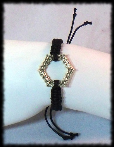 Macrame Bracelet with Beadwoven Focal