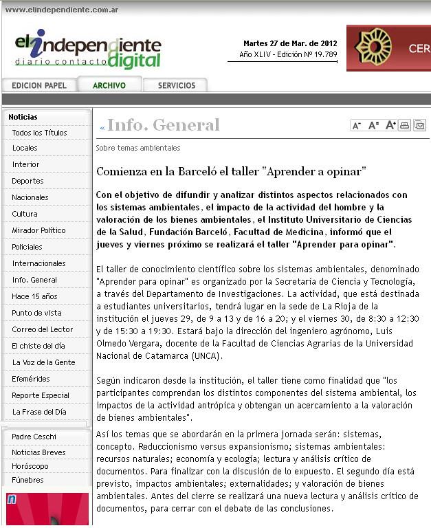 El independiente - Taller de conocimiento Científico - 03.2012