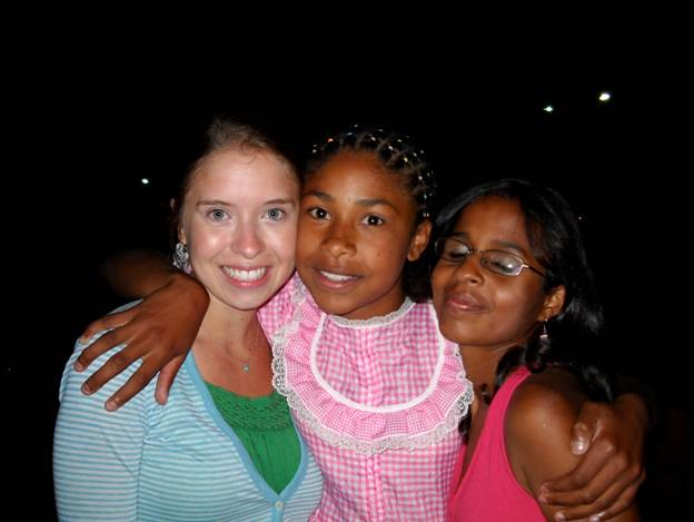 Singing City member Katie Anderson with new friends in Juiz de Fora