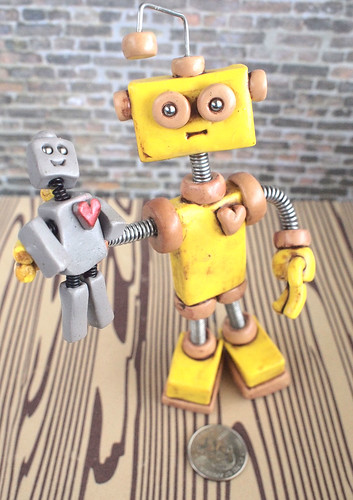 Robot Sculpture Yellow Yam Rustic Bot with Robot Doll by HerArtSheLoves