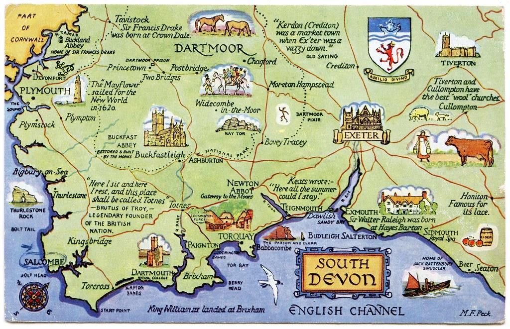 Map Of South Devon Postcard map of South Devon   a photo on Flickriver Map Of South Devon